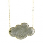 Nuage long necklace silver sequins