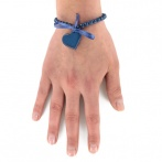 Bracelet Coeur bleu fonc&eacute; Over