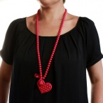 Coeur clous long necklace fuchsia Over