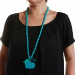 Coeur clous long necklace turquoise Over