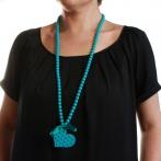 Sautoir Coeur clous turquoise Over