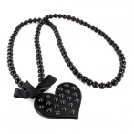 Coeur clous long necklace black