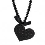 Sautoir Coeur clous noir