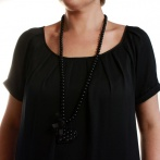 Coeur clous long necklace black Over