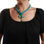 Croix necklace blue Over