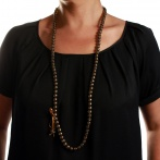 Paillette long necklace dark gold Over