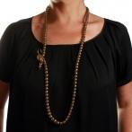 Paillette long necklace gold Over