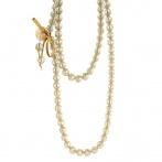 Paillette long necklace light gold