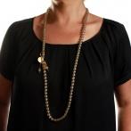 Paillette long necklace light gold Over