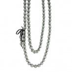 Paillette long necklace dark silver