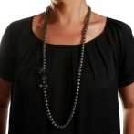 Paillette long necklace dark silver Over
