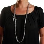 Paillette long necklace silver Over