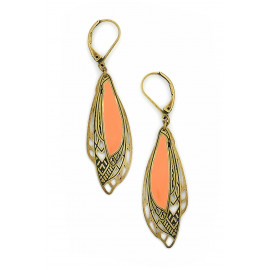 Boucles d'oreilles ailes corail Chrysalide - Amélie Blaise