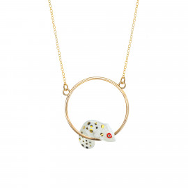 White and gold chameleon mini round necklace Oaxaca - Nach