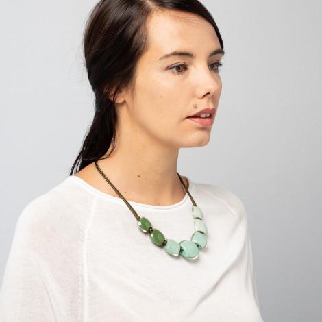 Collier pistache 7 perles Belissima