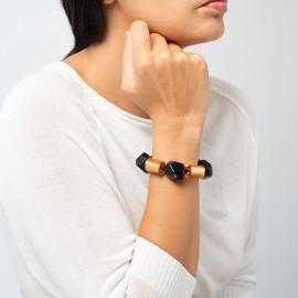 Bracelet 8 perles Dolomites noir et or - Zsiska