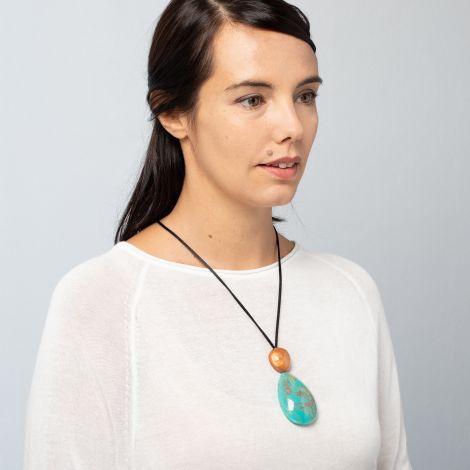 Pendentif turquoise 2 perles Natura