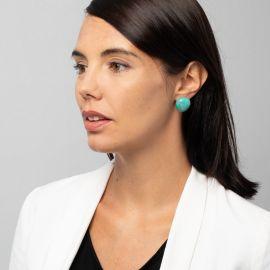 Boucles d'oreilles turquoises 1 perle Natura - Zsiska