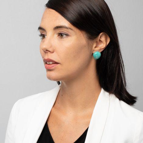 1 bead turquoise blue earrings Natura