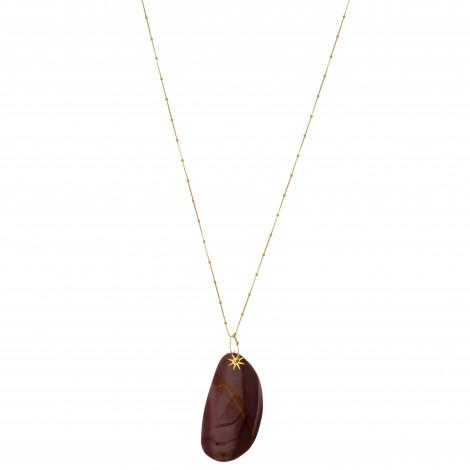 Mokaïte medaillon long necklace Live by the sun