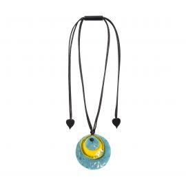Pendentif bleu & jaune 3 perles Dok mai - Zsiska