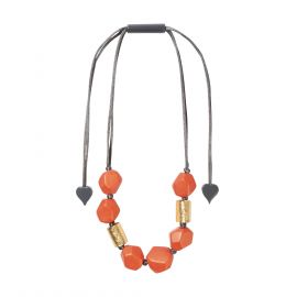 Collier 8 perles Dolomites or et orange - Zsiska