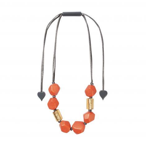 8 gold and orange beads necklace Dolomites