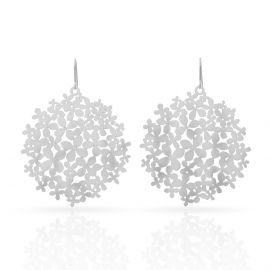 Boucles d'oreilles hortensia argent - Ras