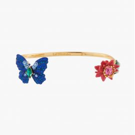 Ulysses Butterfly and Waratah Flower Bangle Bracelet Les belles éphèmères - Les Néreides
