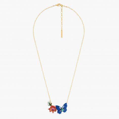 Collier pendentif Papillon Ulysse et fleurs d'Australie Les belles éphèmères