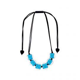 Collier 6 perles bleu Colourful beads - ZSISKA