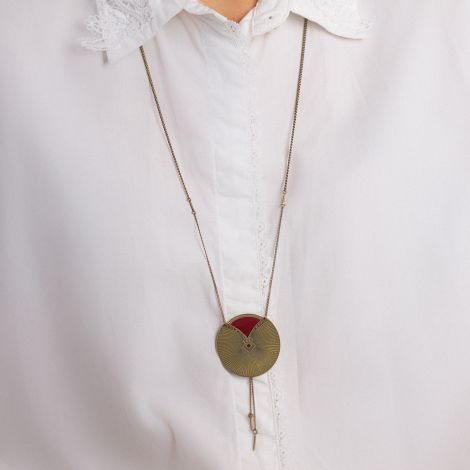 Black currant Kimono long necklace Les classiques