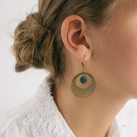 Boucles d'oreilles Camélia émeraude Les classiques - Amélie Blaise