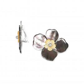 Boucles Clips Fleurs de nacre - Nature Bijoux