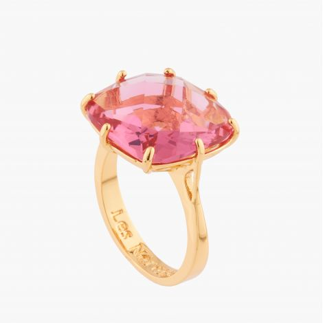 Pink peach round stone ring La diamantine