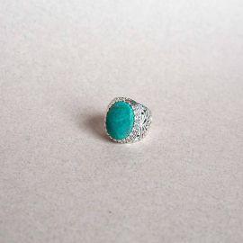 Silver & Green Chrysocolle ring - Jalan Jalan