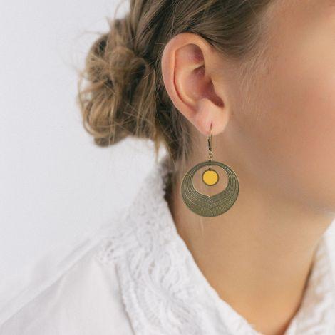 Yellow Camélia earrings Les classiques