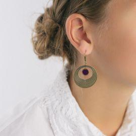 Boucles d'oreilles Camélia aubergine Les classiques - Amélie Blaise