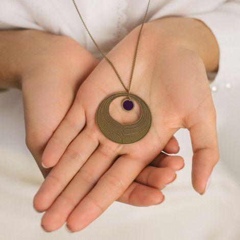Dark purple Camélia necklace Les classiques