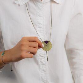 Collier long Kimono aubergine Les classiques - Amélie Blaise