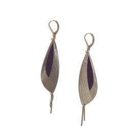 Boucles d'oreilles Pétales aubergine Les classiques - Amélie Blaise