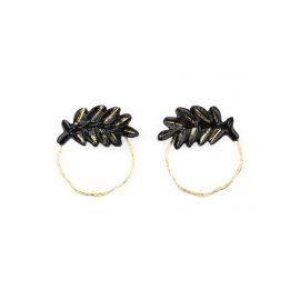 Black and golden leaf round earring - Nach