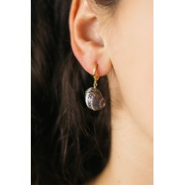 SOUVENIR boucle d'oreilles coquillage noir Souvenir - Olivolga Bijoux