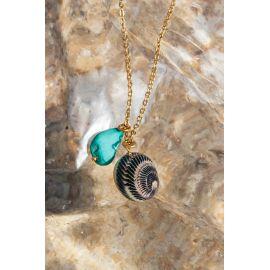 SOUVENIR collier pendentif turquoise & coquillage Souvenir - Olivolga