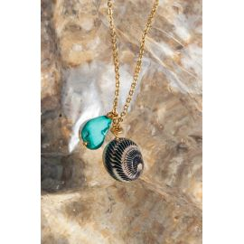 SOUVENIR collier pendentif turquoise & coquillage Souvenir - Olivolga Bijoux