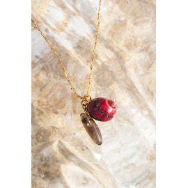 SOUVENIR collier pendentif quartz fumé et coquillage Souvenir - Olivolga