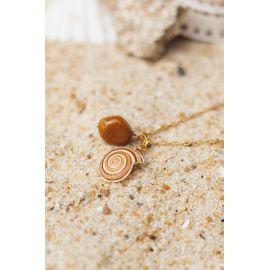 SOUVENIR collier pendentif jaspe et coquillage Souvenir - Olivolga