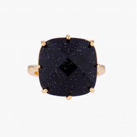 Diamantine squarestone pendant necklace Midnight blue glitter La diamantine -