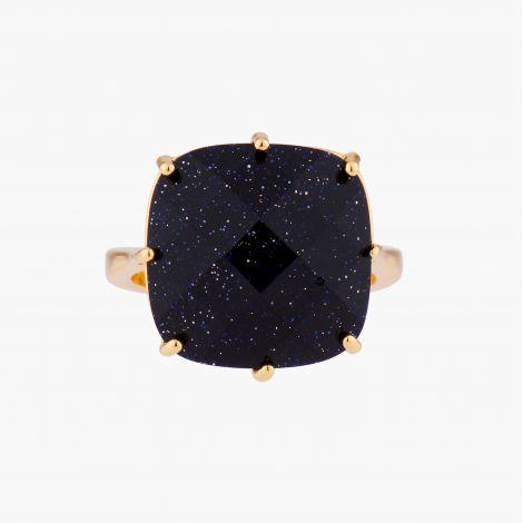 Diamantine squarestone pendant necklace Midnight blue glitter La diamantine