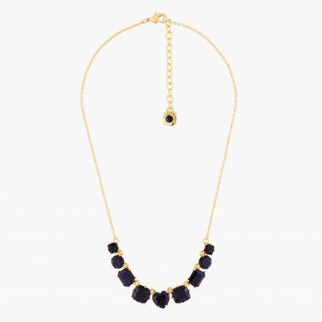 Diamantine 9-stone fine necklace Midnight blue glitter La diamantine